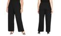 Alex Evenings Plus Size Metallic-Knit Straight-Leg Pants