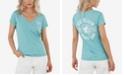 True Religion Women's Logo Short Sleeve Deep V Neck Tee