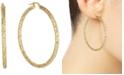 Italian Gold Medium Snake Texture Hoop Earrings in 10k Gold