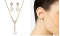 Eliot Danori Cubic Zirconia & Imitation Pearl Lariat Necklace & Drop Earrings Set, Created for Macy's