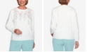 Alfred Dunner Women's Missy St. Moritz Chenille Floral Embroidery Diamond Stitch Sweater
