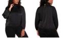 Belldini Black Label Women's Plus Size Pin tuck Mock Neck Charmeuse Top