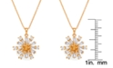 Macy's Cubic Zirconia Flower Pendant Necklace in Fine Gold Plated
