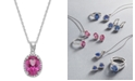 Macy's 14k White Gold Pink Topaz (2 ct. t.w.) and Diamond Accent Pendant Necklace