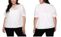 Belldini Black Label Plus Size 3/4 Blouson Sleeve V-neck Top