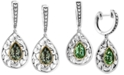 EFFY Collection Balissima by EFFY® Green Quartz Pear Drop Earrings in Sterling Silver and 18k Gold (2-1/3 ct. t.w.)