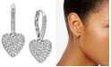 Eliot Danori Pavé Heart Drop Earrings, Created for Macy's