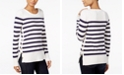 Maison Jules Striped Button-Detail Sweater, Created for Macy's