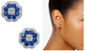 Macy's Sapphire (5/8 ct. t.w.) and Diamond (1/10 ct. t.w.) Cluster Stud Earrings in 14k White Gold