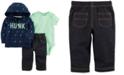 Carter's 3-Pc. Cotton Hoodie, Bodysuit & Pants Set, Baby Girls