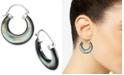 Macy's Black Mother-of-Pearl Hoop Earrings in Sterling Silver