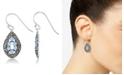 Macy's Blue Topaz (1-1/3 ct. t.w.) & Marcasite Teardrop Earrings in Sterling Silver