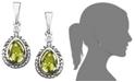 Macy's 14k Gold and Sterling Silver Earrings, Peridot (7/8 ct. t.w.) and Diamond Accent Teardrop Earrings