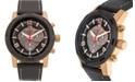 Buech & Boilat Baracchi Men's Chronograph Watch Black Leather Strap, White Stitching, Black/Grey Dial, Rose Gold Case, 46mm