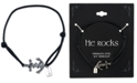 He Rocks Black Cord Bracelet featuring Stainless Steel Anchor