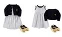 Hudson Baby Dress, Cardigan, Shoe Set, 3 Piece, Black Dot, 6-9 Months