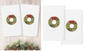 Linum Home Christmas Wreath Embroidered 100% Turkish Cotton 2-Pc. Hand Towel Set