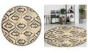 "KM Home CLOSEOUT! 3796/1004/BONE Imperia Ivory/ Cream 5'3"" x 5'3"" Round Area Rug"