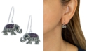 Giani Bernini Black and Gray Pavé Crystal Elephant Wire Drop Earrings set in Sterling Silver