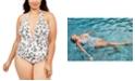 La Blanca Plus Size Brushstroke Petals Printed Halter One-Piece Swimsuit
