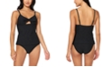 Jessica Simpson Rose Bay Solid Textured Tie-Front Tankini Top & Shirred Hipster Bottoms