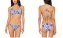 Jessica Simpson Palmy Days Printed O-Ring Smocked Bralette Bikini Top & Smocked Bottoms