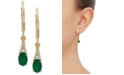 Macy's Emerald (7/8 ct. t.w.) & Diamond (1/20 ct. t.w.) Drop Earrings in 10k Gold