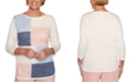 Alfred Dunner Pearls of Wisdom Pointelle-Knit Patchwork Sweater