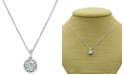 "Macy's Diamond Halo 18"" Pendant Necklace (3/4 ct. t.w.) in 14k White Gold"
