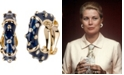 Grace Kelly Collection 18k Gold Plated Enameled Hoop Clip On Earring