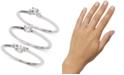 AVA NADRI Silver-Tone 3-Pc. Set Crystal Rings