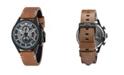 AVI-8 Men's Hawker Hunter Chronograph Avon Edition Brown Genuine Leather Strap Watch 45mm