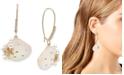 Betsey Johnson Gold-Tone Pavé & Imitation Pearl Seashell Linear Drop Earrings