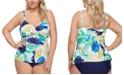 Raisins Curve Trendy Plus Size Palm Springs Aries Tankini Top & Costa High-Waist Bikini Bottoms