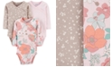 Carter's Baby Girls 3-Pk. Printed Side-Snap Cotton Bodysuits