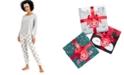 Jenni Fleece Pants Pajamas & Eye Mask 3pc Set, Created for Macy's