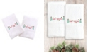 Linum Home Textiles Embroidered Hand Towels with Merry Christmas Set of 2