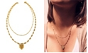 Kemi Designs Women's 14K Gold Plated Double Strand Necklace with Mayan Pendant