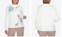 Alfred Dunner Women's Plus Size Dover Cliffs Asymmetric Floral Embroidery Sweater