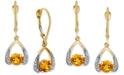 Macy's Citrine (1 ct. t.w.) & Diamond (1/8 ct. t.w.) Drop Earrings in 14k Gold