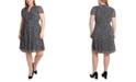 MSK Plus Size Printed Pleated Chiffon Shirtdress