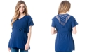 A Pea in the Pod Maternity Lace-Trim Flutter-Sleeve Tunic