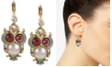 Betsey Johnson Gold-Tone Ornate Owl Drop Earrings