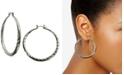 "GUESS Silver-Tone 2"" Textured Hoop Earrings"