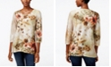 Alfred Dunner Cactus Ranch Collection Embellished Jacquard Top