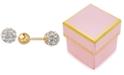 Macy's Children's Crystal Fireball and Gold Ball Reversible Stud Earrings in 14k Gold