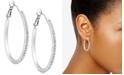 "GUESS Silver-Tone Pavé 1 1/4"" Oval Hoop Earrings"