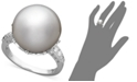 Macy's 14k White Gold Ring, Cultured South Sea Pearl (14mm) and Diamond (1/5 ct. t.w.) Ring