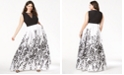 Morgan & Company Trendy Plus Size Printed A-Line Gown
