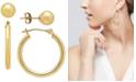Macy's 2 Pc. Set Polished Stud & Hoop Earrings in 14k Gold, 3/4 inch Hoop